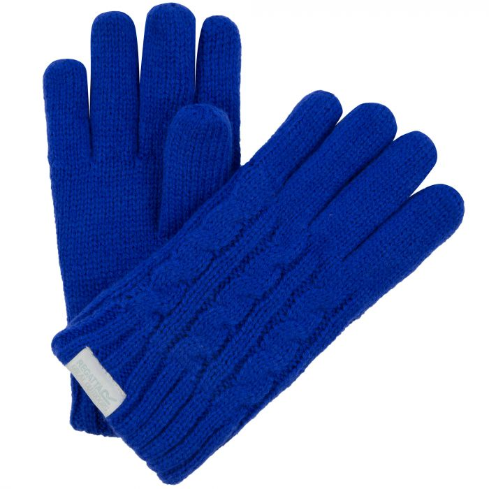 Regatta Kids Multimix Fleece Lined Cable Knit Gloves Surf Spray