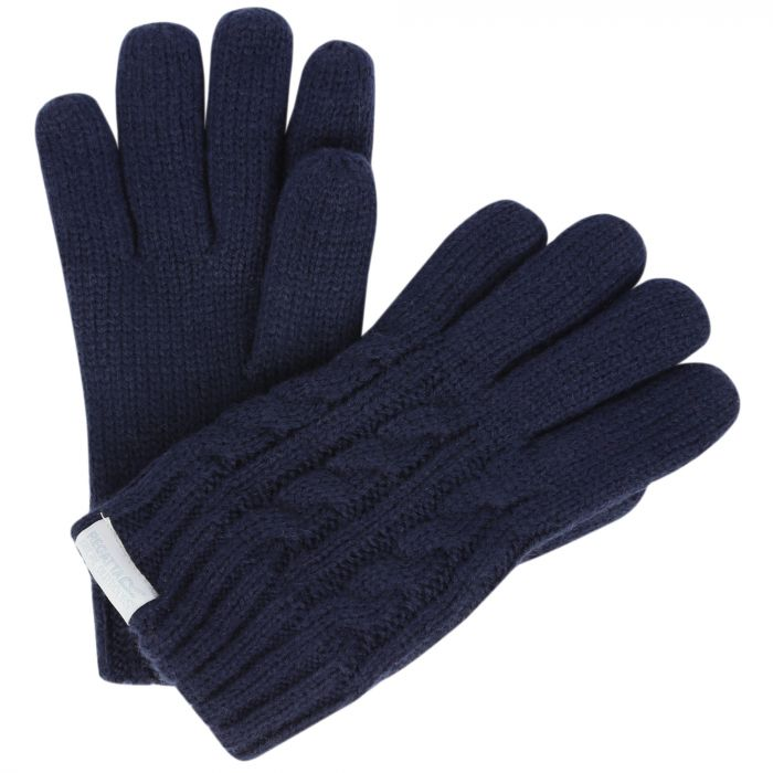 Regatta Kids Multimix Fleece Lined Cable Knit Gloves Navy