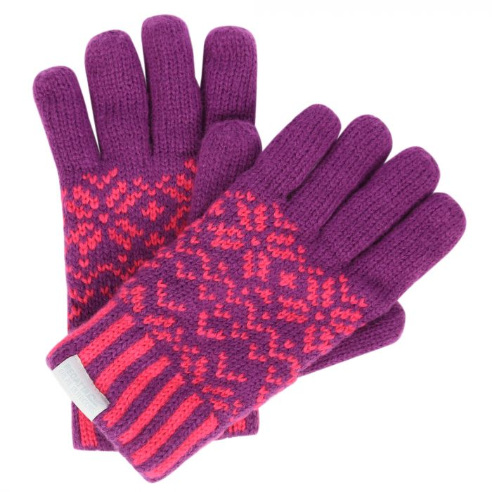 Regatta Kids Snowflake II Fleece Lined Fair Isle Knit Gloves Winberry
