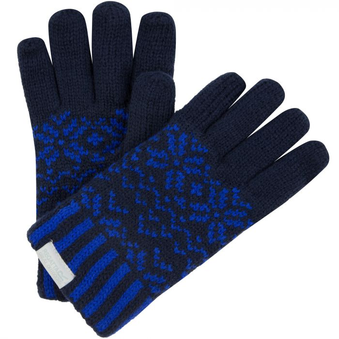 Regatta Kids Snowflake II Fleece Lined Fair Isle Knit Gloves Navy