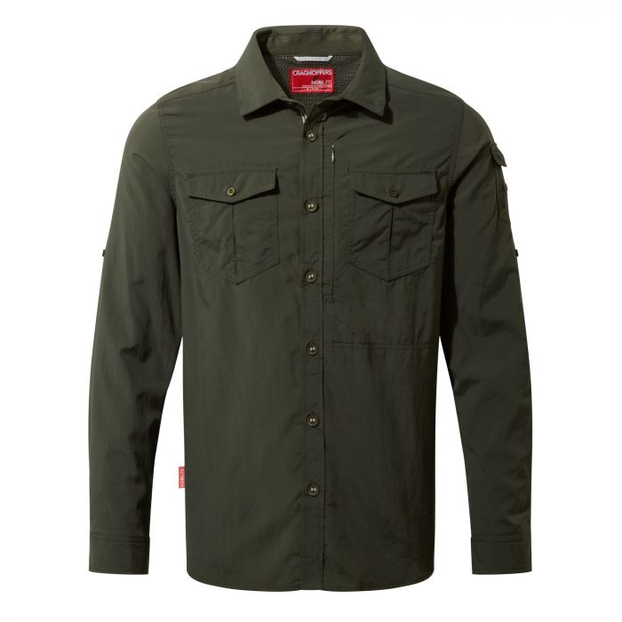 Craghoppers NosiLife Adventure Long Sleeved Shirt Dark Khaki