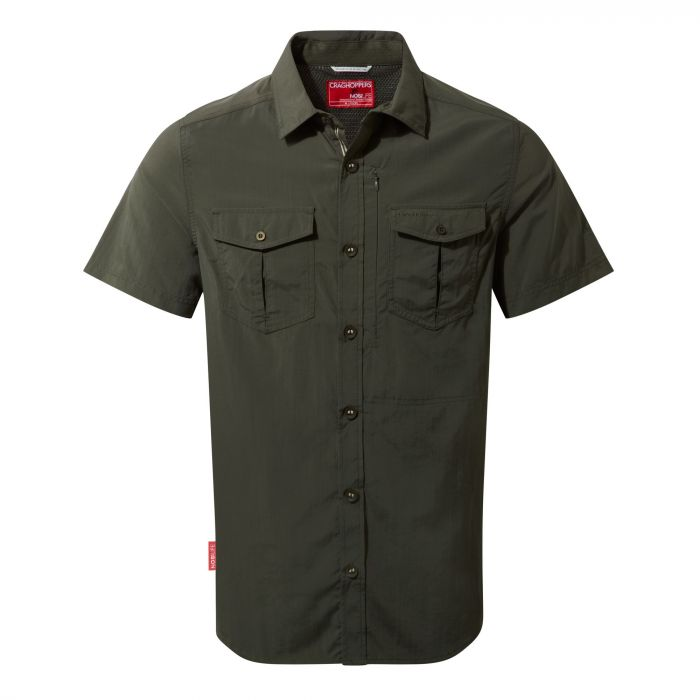 Craghoppers NosiLife Adventure Short Sleeved Shirt Dark Khaki