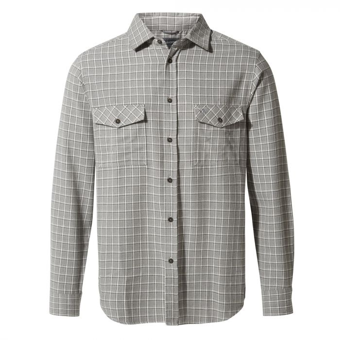 Craghoppers Kiwi Long-Sleeved Check Shirt Cement Check