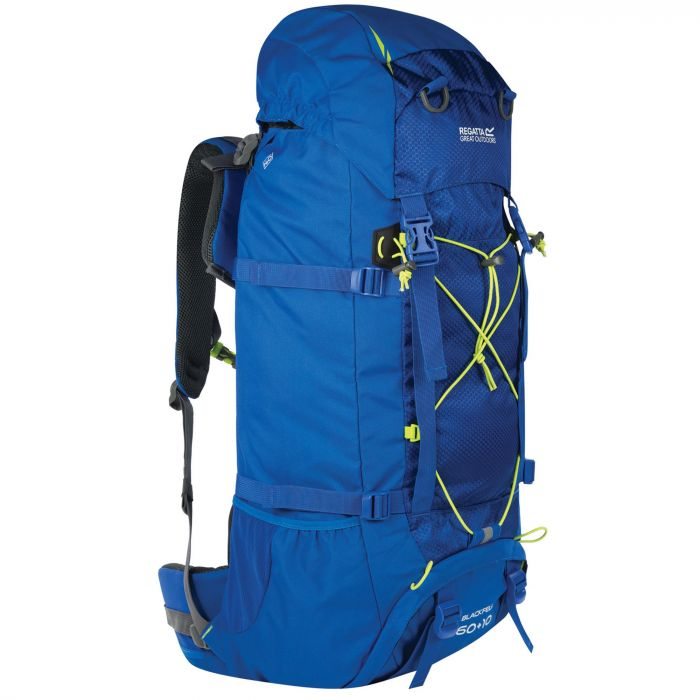 Regatta Blackfell II 60 + 10 Litre Expandable Backpack with Hydration Storage Pocket Oxford Blue Lime Zest