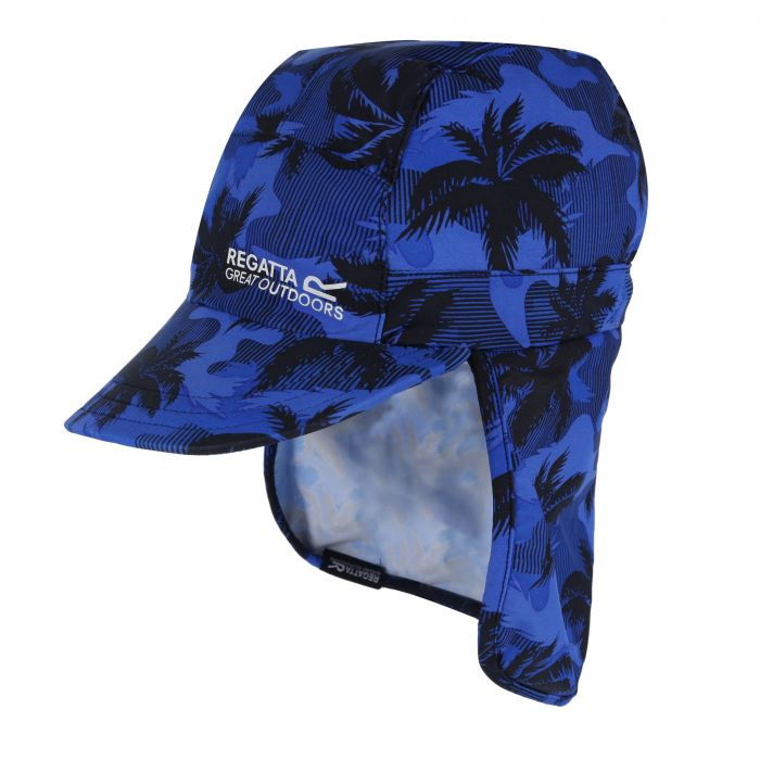 Regatta Kids' Protect Sunshade Neck Protector Cap Blue Tropical
