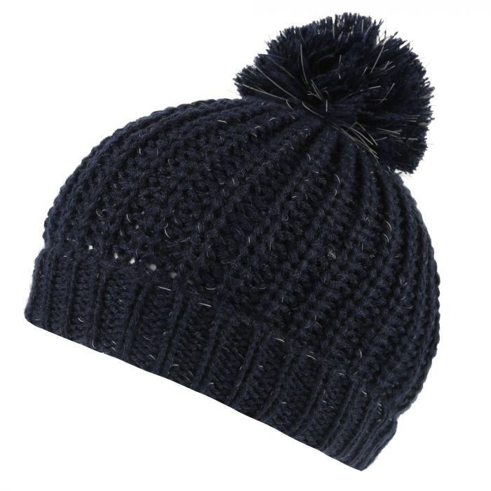 Regatta Luminosity II Reflective Knit Bobble Hat Navy