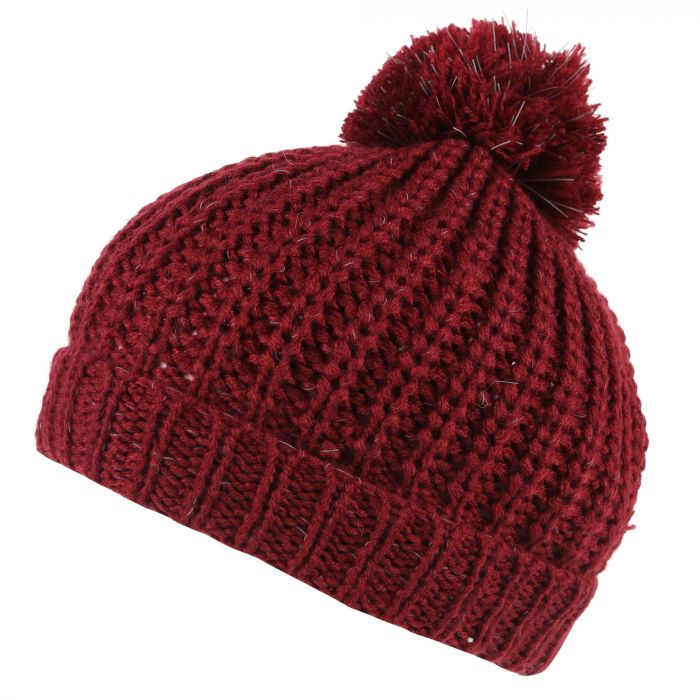 Regatta Luminosity II Reflective Knit Bobble Hat Delhi Red