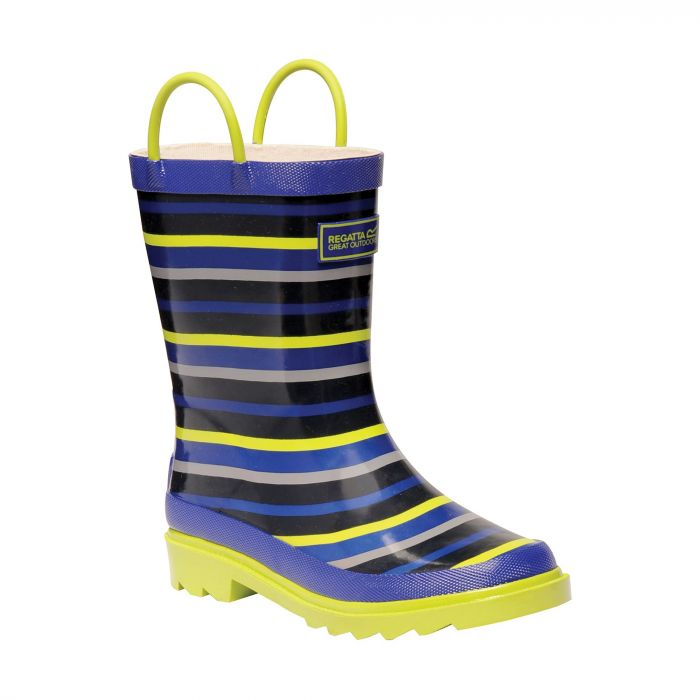 Regatta Kid's Minnow Junior Wellington Boots Surfspray Blue Lime Zest