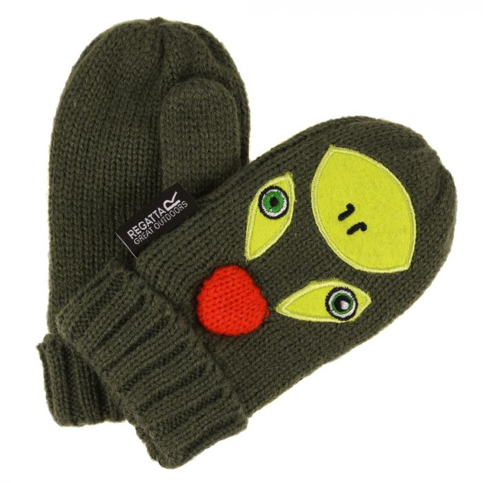 Regatta Kids Animally Mitts II Cypress Green Lime Punch