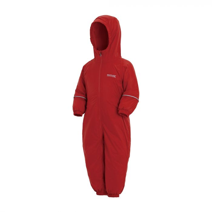 Regatta Kids Splosh III Plain Breathable Waterproof Puddle Suit Pepper Red
