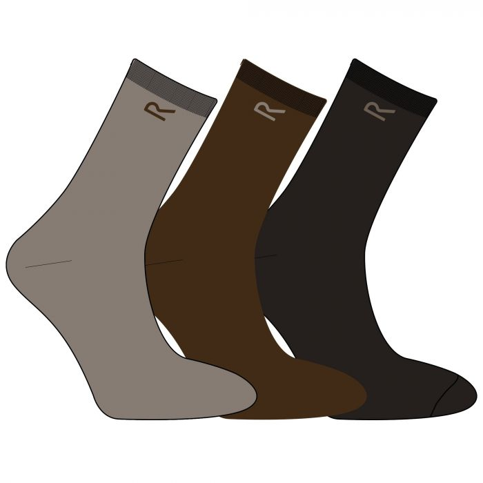 Regatta Men's 3 Pack Plain Socks Brown Marl