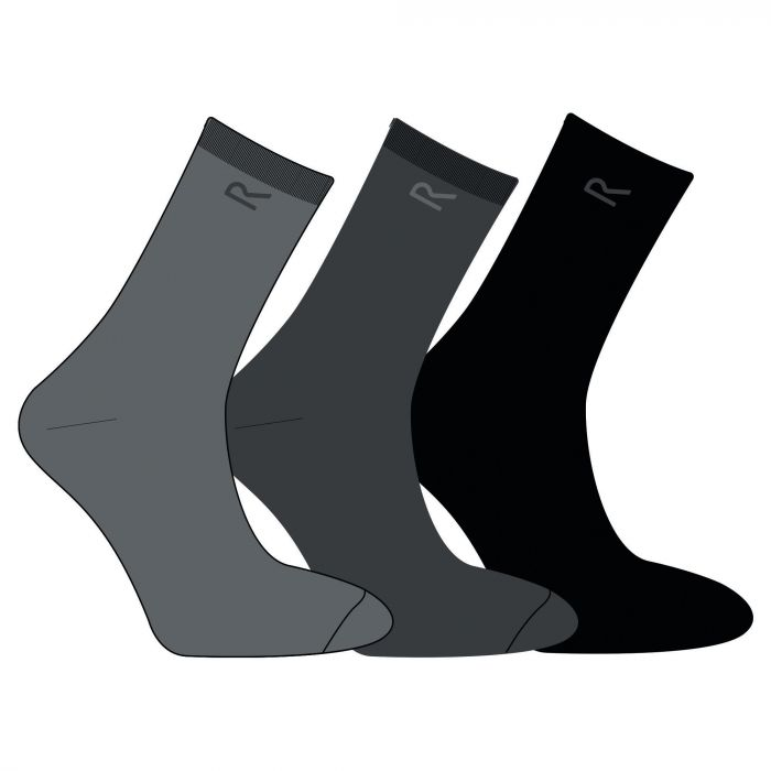 Regatta Men's 3 Pack Plain Socks Grey Marl