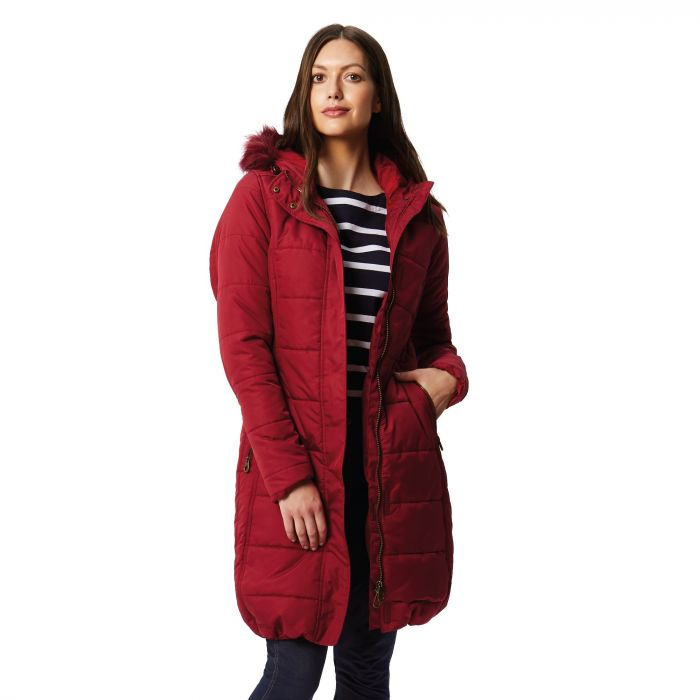 Regatta Fermina II Long Length Quilted Puffer Parka Jacket Rumba Red