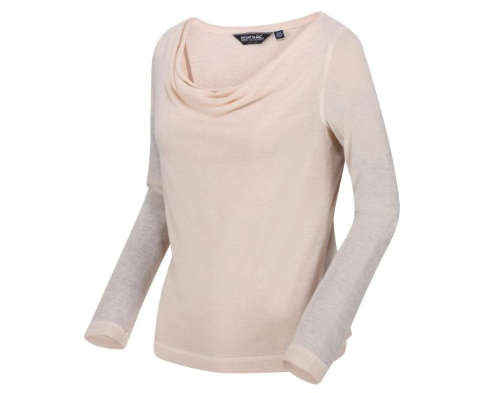 Kimberley Walsh Frayda Lightweight Cowl Neck Top - Light Vanilla Silver