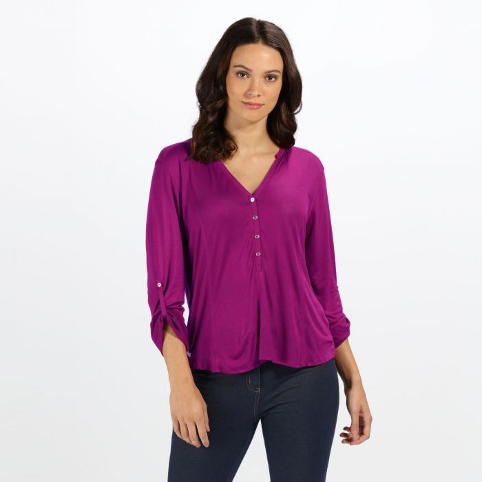 Regatta Women's Fiorella Long Sleeve V Neck Buttoned Top Beaujolais