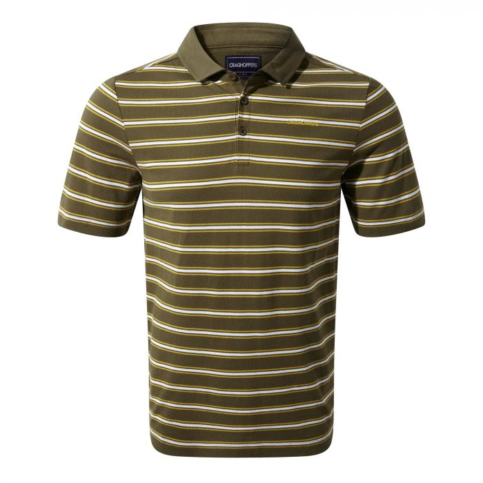 Craghoppers Geraldton Short Sleeved Polo Dark Moss Stripe