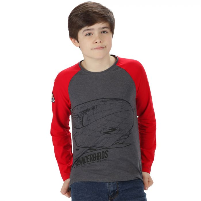 Regatta Thunderbirds Are Go Kids Peril Graphic Print Long Sleeved Cotton T-Shirt Grey Marl Pepper Red