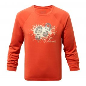 Craghoppers Mimir Long-Sleeved Graphic Tee Vermillion Orange