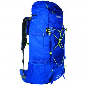 Blackfell II 60 + 10 Litre Expandable Backpack with Hydration Storage Pocket Oxford Blue Lime Zest