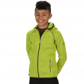 Regatta Kids Dissolver Mid Weight Knit Effect Hooded Fleece Lime Zest