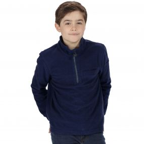 Regatta Kids Oaklands Lightweight Half Zip Mini Stripe Fleece Navy