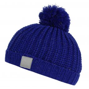 Kids Luminosity Reflective Knit Bobble Hat Surfspray Blue