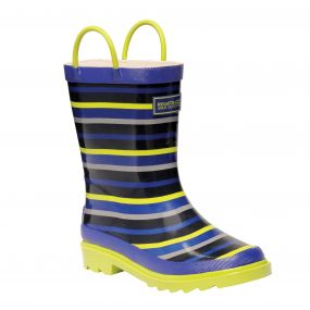 Kids Minnor Wellington Boots Surfspray Blue Lime Zest