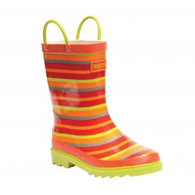 Kids Minnor Wellington Boots Trailblaze Lime Zest