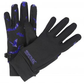 Regatta Kids Grippy Stretch Gloves Black Surfspray Blue Bat