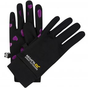 Regatta Kids Grippy Stretch Gloves Black Vivid Viola Heart
