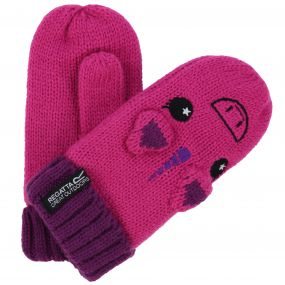 Regatta Kids Animally Mitts II Unicorn Gloves Extreme Pink Winberry