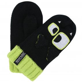 Regatta Kids Animally Mitts II Monster Gloves Black Lime Zest