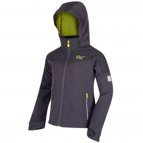 Kids Acidity Hooded Stretch Softshell Jacket Iron Seal Grey Reflective