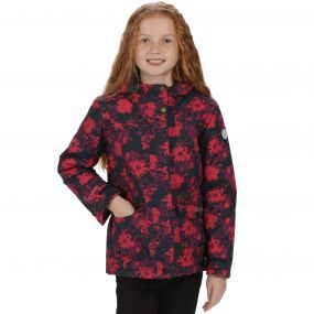 Kids Rosebank Waterproof All Over Print Hooded Jacket Navy Floral Print