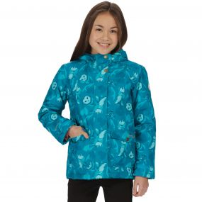 Kids Rosebank Waterproof All Over Print Hooded Jacket Enamel Woodland Print