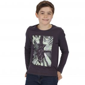 Kids Whiteshaw Long Sleeved Cotton Graphic T-Shirt Iron City Print
