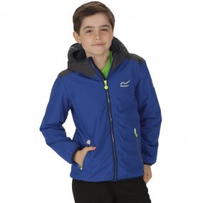 Kids Volcanics Breathable Waterproof Reflective Hooded Jacket Surfspray Blue Seal Grey Reflective