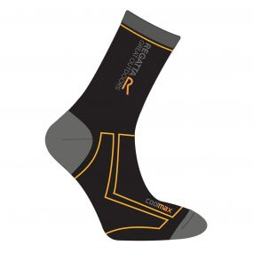 Regatta Men's 2 Season Coolmax Trek & Trail Socks Black Gold Heat
