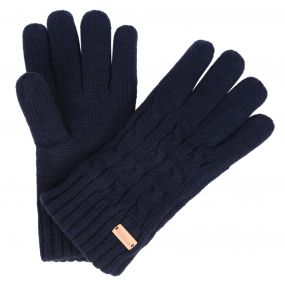 Regatta Multimix Fleece Lined Cable Knit Gloves Navy