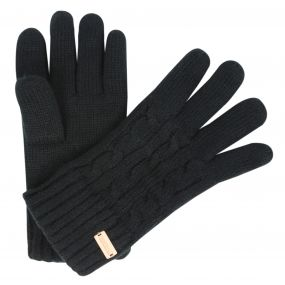 Regatta Multimix Fleece Lined Cable Knit Gloves Black