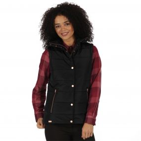 Wynne High Shine Insulated Puffer Gilet Black