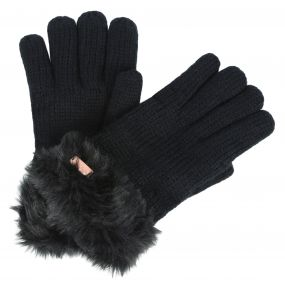 Regatta Women's Ludz Faux Fur Trim Knit Gloves Black