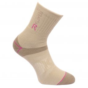 Regatta Women's Two Layer Blister Protection Socks Taupe Vivid Viola