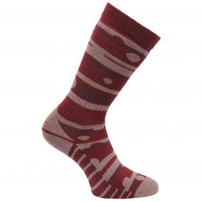 Regatta Women's Striped Wellington Socks Dark Pimento Mauve