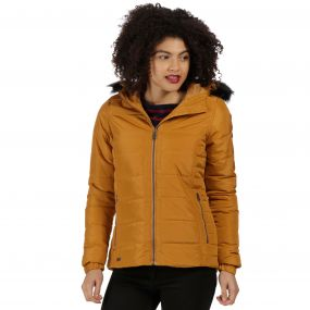Regatta Wynne High Shine Insulated Puffer Jacket Gold Cumin