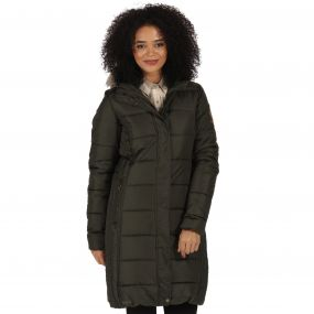 Regatta Fermina Long Length Quilted Puffer Parka Jacket Dark Khaki