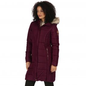 Regatta Fermina Long Length Quilted Puffer Parka Jacket Fig