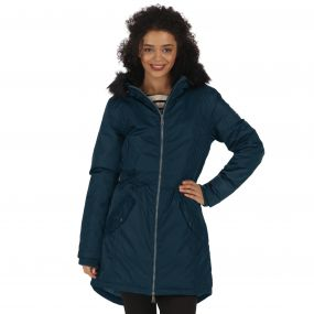 Regatta Lucetta Breathable Waterproof Insulated High Shine Parka Jacket Majolica Blue