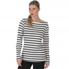 Regatta Fayola Long Sleeved Striped Coolweave Cotton T-Shirt Light Vanilla