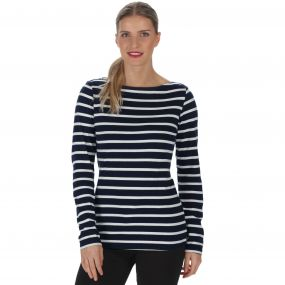 Regatta Fayola Long Sleeved Striped Coolweave Cotton T-Shirt Navy